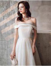 Лето 2021 блестящее бальное платье с вырезом лодочкой свадебное