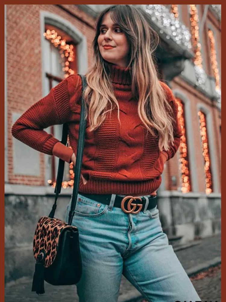 Sheinside Borgoña de cuello alto Cable de punto suéter mujeres 2019 Otoño de manga larga suéteres básicos señoras sólido minimalista Top