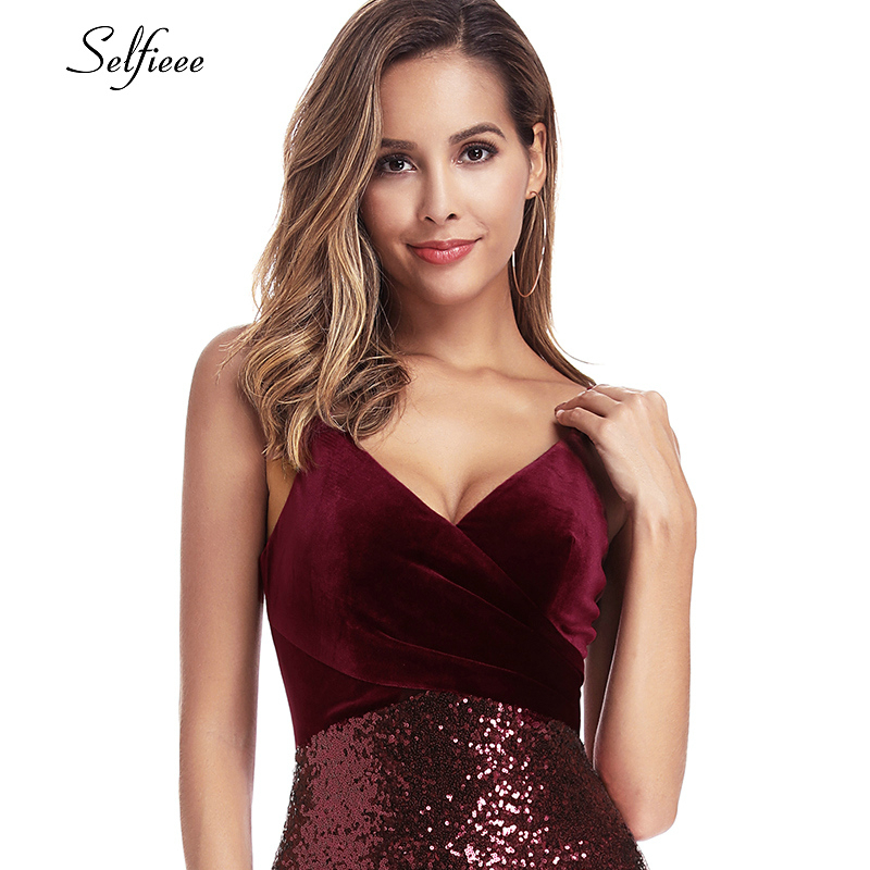 Sequined Burgundy Women Dresses Spaghetti Straps V-Neck Elegant Sparkle Maxi Dresses Woman Party Night Dresses Robe Femme 2020 4