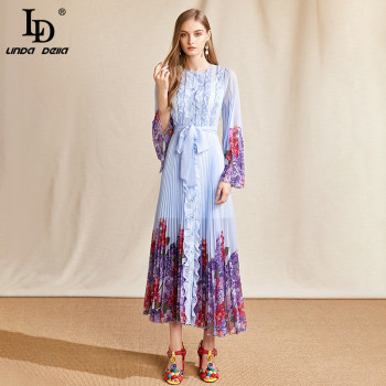LD LINDA DELLA Summer Fashion Runway Long Dress Women Flare Sleeve Belted Floral Print Ruffles Pleated Holiday Party Dresses