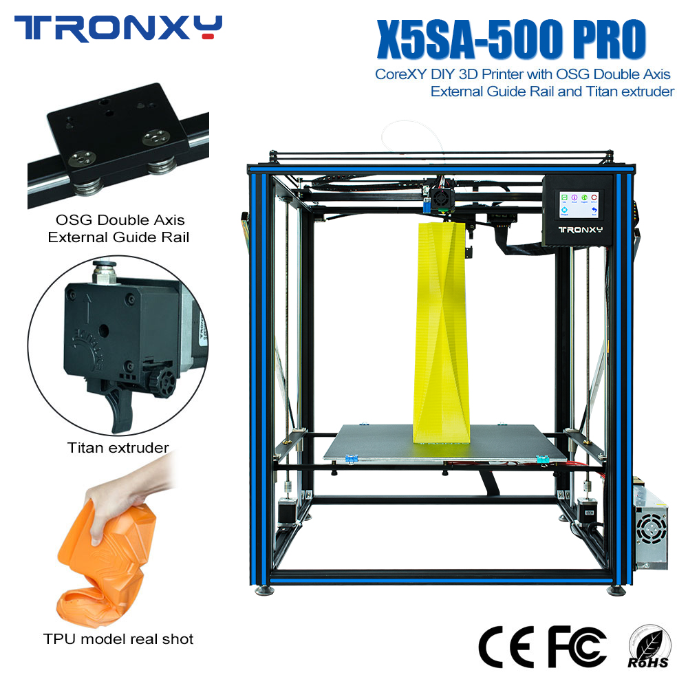 Tronxy X5SA-<font><b>500</b></font> PRO <font><b>3D</b></font> <font><b>Printer</b></font> Silent Mainboard Control High Quality With Guide Rail and Titan Extruder Flexible <font><b>3D</b></font> Print Mute image