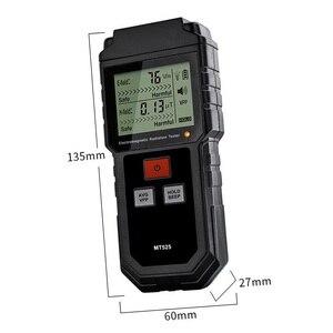 Image 5 - קרינה אלקטרומגנטית כף יד דיגיטלי מד מינון LCD מדידה גלאי מונה גייגר נעילת קול MT525 אור 9V EMF