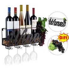 Letter Pattern Wall Mounted Wine Rack Home Bar Decoration Wine Glass Hanging Holder Wall Shelf Goblet Storage Organizer Rack
