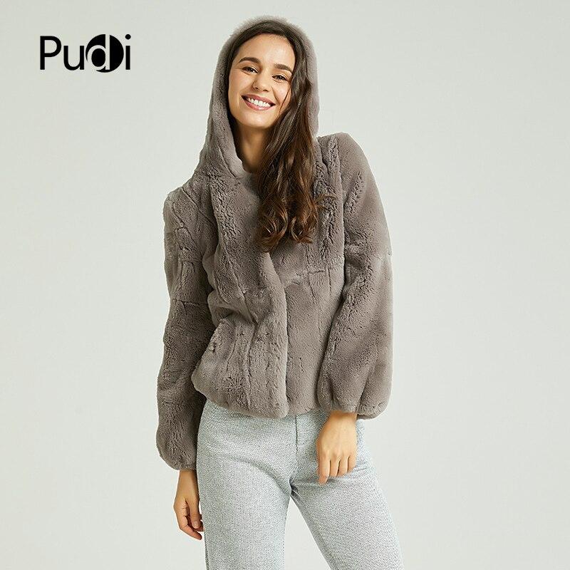 Pudi Women Real Rex Rabbit Fur Coat Jacket 2018 Brand New Full Pelt Natural Fur Coats Ball Jackets With Fur Hood CT824
