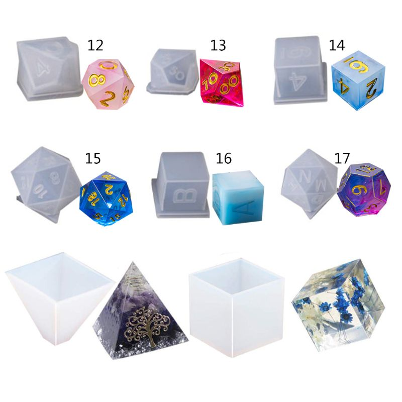 Diy Crystal Epoxy Silicone Resin Molds Dice Fillet Pyramid Cube Digital Game High Mirror Dice Mold Silicone Mould Making Jewelry