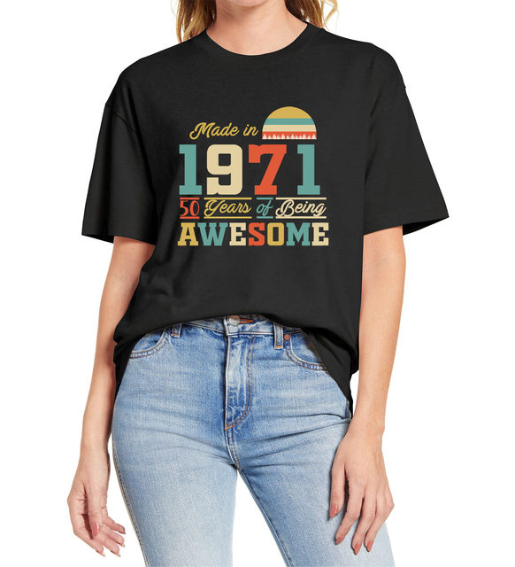 1971 tshirts 50 Years of Being Awesome 50th Birthday Gifts for Women And Mens Funny Unisex Gift T Shirt  Cotton Tee XS-3XL 1