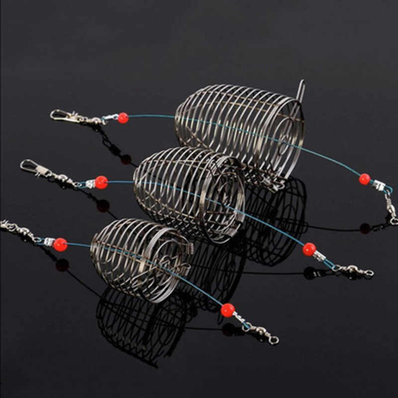 Outdoor Fishing Small  Medium Large Stainless Steel Wire Fish Bait Trap Basket Fishing Tackle Lure Cage