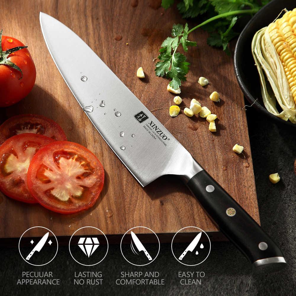 Xinzuo 8.5 inch inch polegadas chef faca din 1.4116 corte de carbono alto aço inoxidável alemão facas cozinha ferramentas com punho ébano