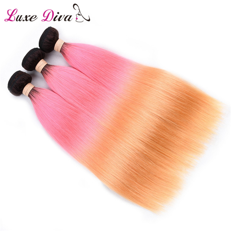 1b Pink Orange Pre Colored Human Hair Bundles With Closure Straight Remy Brazilian Hair Omber Colorfull Women Omber Hair in 3 4 Bundles with Closure from Hair Extensions Wigs