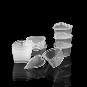 2 Pcs Hot Sale Plastic Takeaway Sauce Cup Containers Pot Jar Clear Seasoning Cups with Lids Reusable Travel Slime Storage Box
