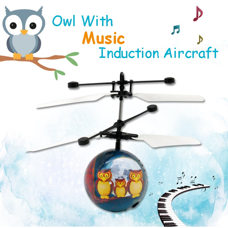 Infrared Induction Drone Flying Flash LED Lighting Ball Helicopter Child Kid Toy Gesture-Sensing USB Charging (Singing Owl)(no R