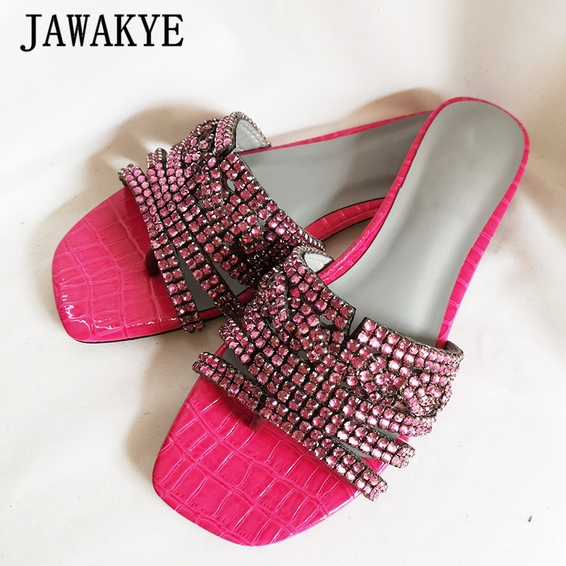 Summer Luxury Rhinestone Flip Flops Slippers Women Bling Bling Flat Mules Crystal Beach Shoes Women 2020 new sandals for girls