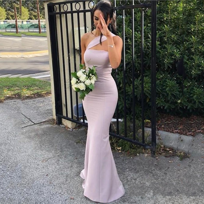 Purple Sexy Long One-Shoulder Bridesmaid Dress 2019 Chiffon Backless Formal Prom Party Gown Women Long Wedding Guest Dress