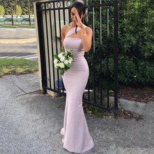 Purple Sexy Long One-Shoulder Bridesmaid Dress 2019 Chiffon