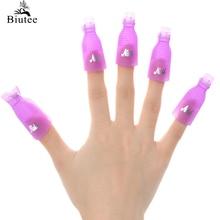 Biutee 10PC Nail Art Plastic Gel Nail Polish Remover Soak Off Cap Clip UV Gel Polish Wrap Tool for removal of varnish