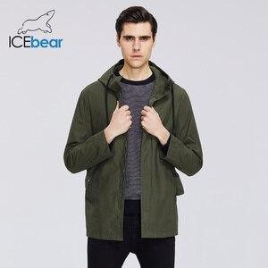 Image 2 - ICEbear 2020 גברים של קצר מעיל רוח אביב אופנתי תעלת מעיל עם ברדס גבוהה איכות גברים של מותג בגדים MWF20701D