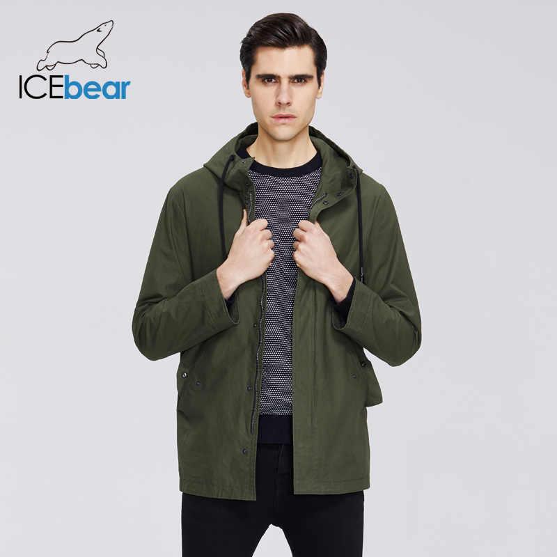 ICEbear 2020 גברים של קצר מעיל רוח אביב אופנתי תעלת מעיל עם ברדס גבוהה-איכות גברים של מותג בגדים MWF20701D