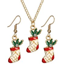 Elegant Christmas Boots Jewelry Sets Rhinestone Enamel Colorful Gold Xmas Shoes Necklace Earrings Jewellery Set For Women Bijoux(China)