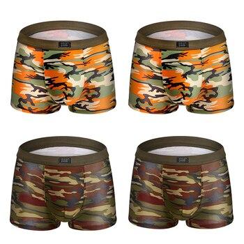 Camouflage printed Boxer Shorts male panties Breathable Comfortable Letter Underwear For Men Cheap Boxer Shorts 4pcs/lot 9