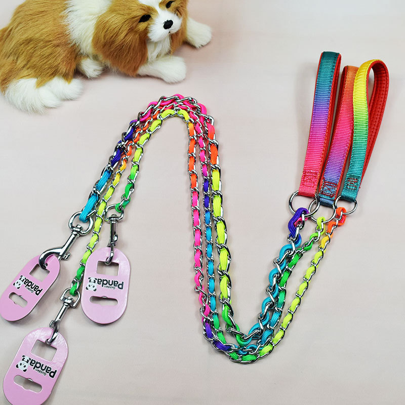 Nylon Iron Chain Anti-Bite Short Dog Hand Holding Rope Short Step Portable In Large Dog Rope Additive Neck Ring
