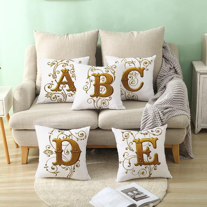1 Pc Gold Alphabet Cushion Cover Home
