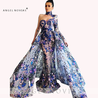 Long Sleeves Luxury Sequins Lace Evening Dresses 2019 With Detachable Skirt High Neck Elegant Abendkleider 2019 robe de soiree