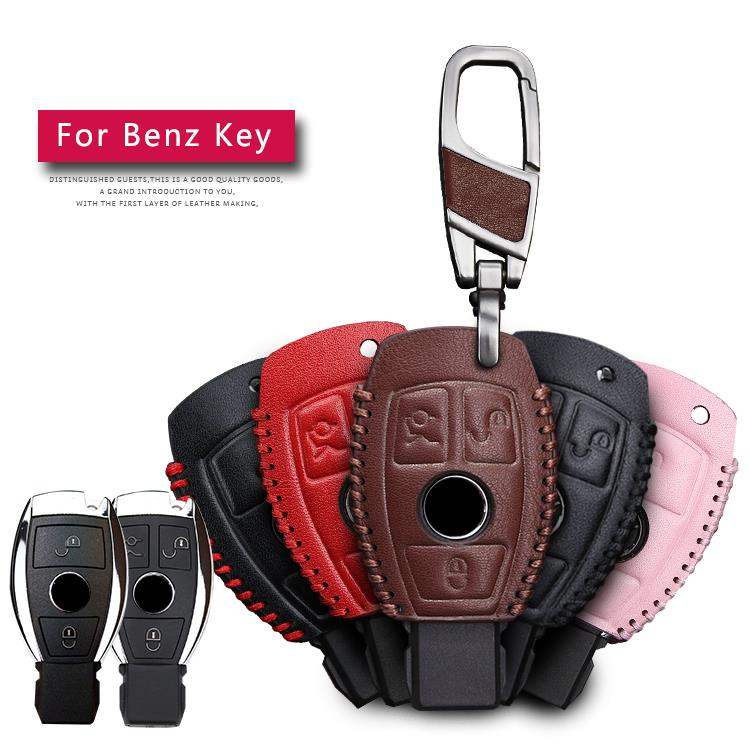 For Benz Genuine Leather 2&3 Button Smart Car Key Case Cover For Mercedes Benz Accessories W203 W210 W211 W124 Keyrings Keychain(China)