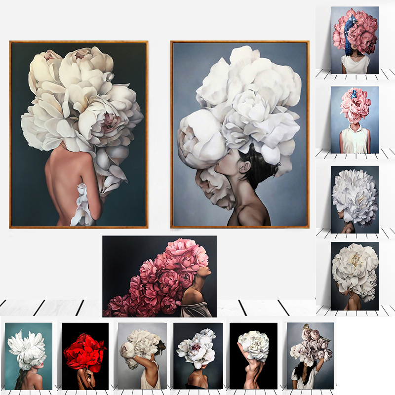 Modern Figure Lady Head Flower Picture Home Decor Nordic Canvas Painting Wall Art Posters and Prints Decor for Bedroom Dorm Room 1