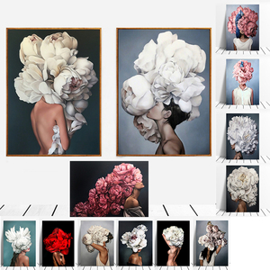 Modern Figure Lady Head Flower Picture Home Decor Nordic Canvas Painting Wall Art Posters and Prints Decor for Bedroom Dorm Room