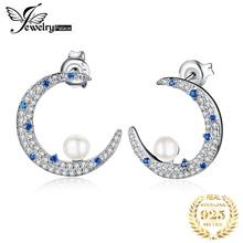 JPalace Half Moon Created Spinel Pearl Stud Earrings 925 Sterling Silver For Women Korean Earings Fashion Jewelry 2019