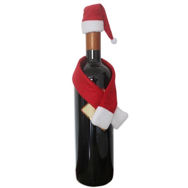 1 шт. рождественское красное вино украшение для домашнего стола блестки держатель пакета для вина красное Вино Шампанское крышка бутылки чехол Рождественский подарок L* 5 - Цвет: Красный