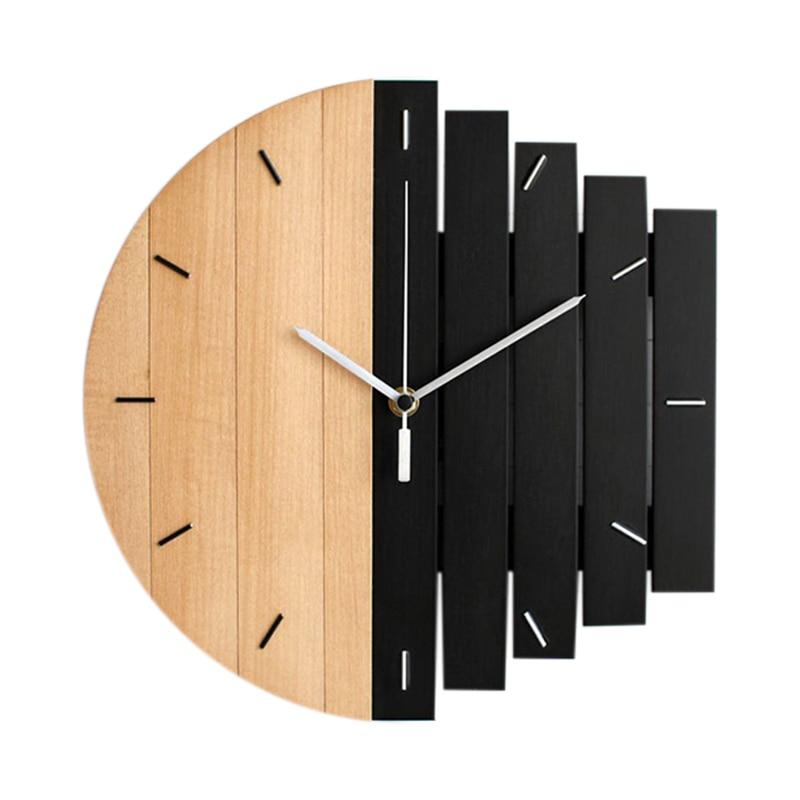 Wooden Wall Clock Modern Design Vintage Rustic Shabby Clock Quiet Art Watch Home Decoration B