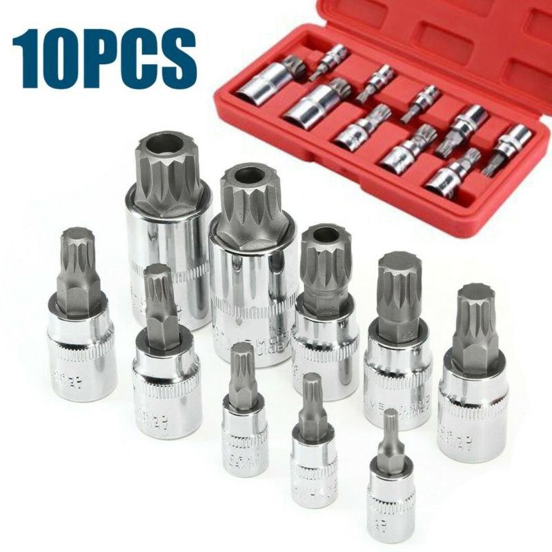High Quality 10pcs XZN 12 Point MM Triple Square Spline Bit Socket S2 Steel 4-18mm Tool Set Point Sockets