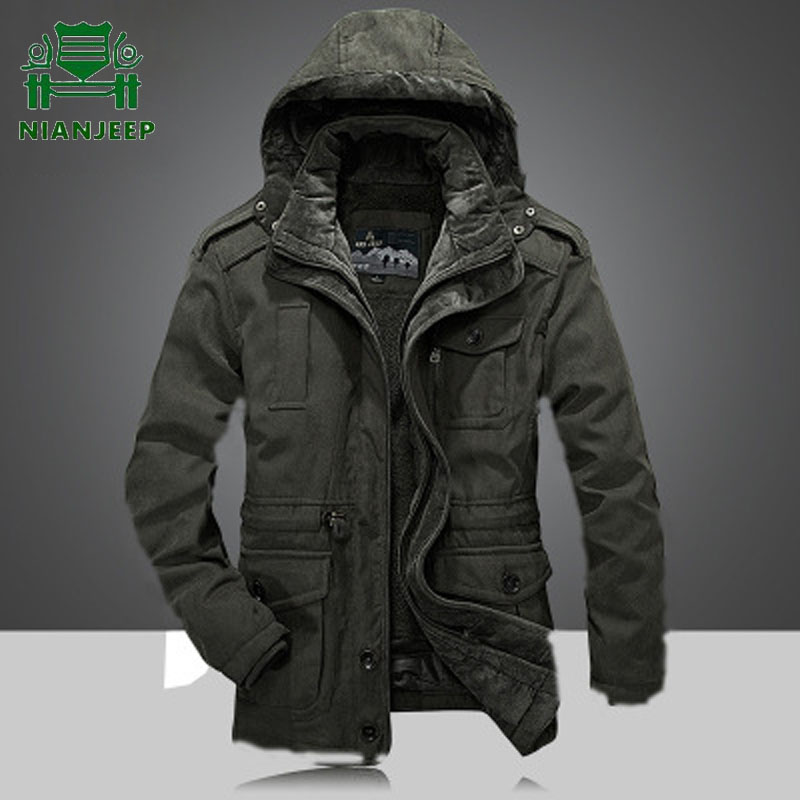 Brand Men's <font><b>Winter</b></font> Thicken Warm Hooded <font><b>Military</b></font> Brand Army Green <font><b>Jacket</b></font> Coat Men Cotton Fleece Thick <font><b>Jacket</b></font> Coats Plus Size 4XL image