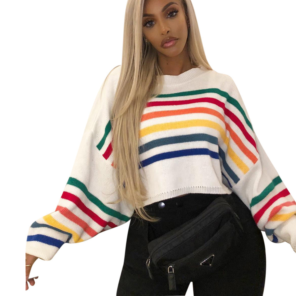 2020 Sweater Women Pullover New Fashion O-Neck Colourful Long Batwing Sleeve Patchwork Stripe Casual Top Sueter Mujer Invierno
