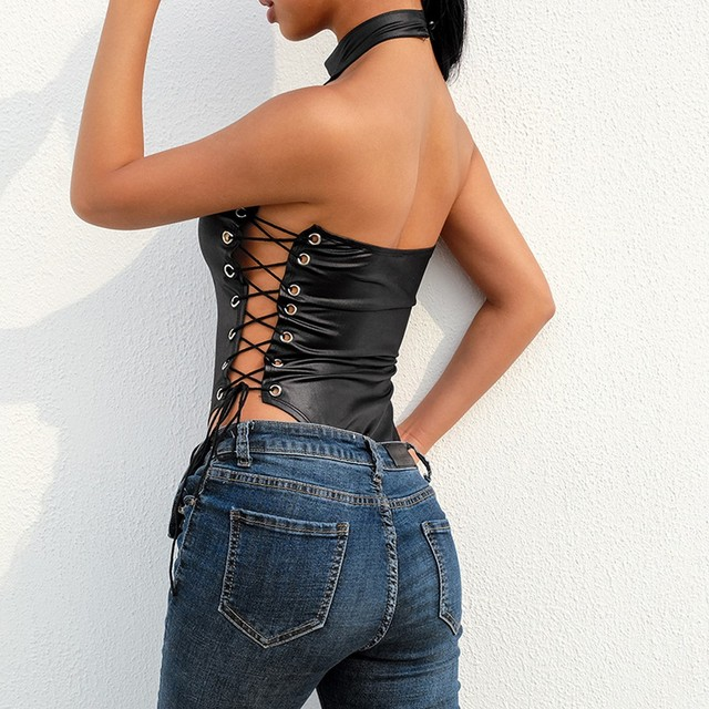 Leather Riveted Backless Lingerie 6