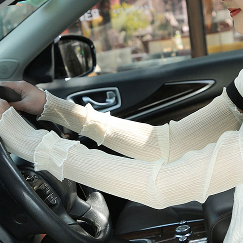 1Pair Women Girls UV Protection Bubble Arm Sleeves Summer Driving Solid Color Ruffles Patchwork Wrinkled Fingerless Gloves