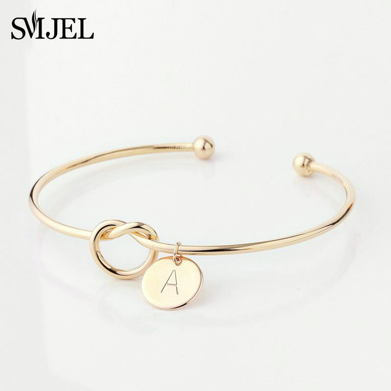 SMJEL Personalized Initial Knot Bracelet 26 Letters Bangles for Girlfriends A-Z Charm Bracelets Bridesmaid Cuff Bangle Jewelry