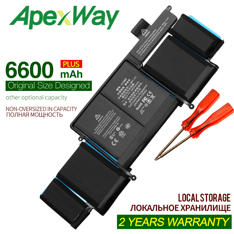 ApexWay 11.36V 6600mAh Laptop Battery A1582 for Apple MacBook Pro 13 Retina A1502 2015 year With Tools image