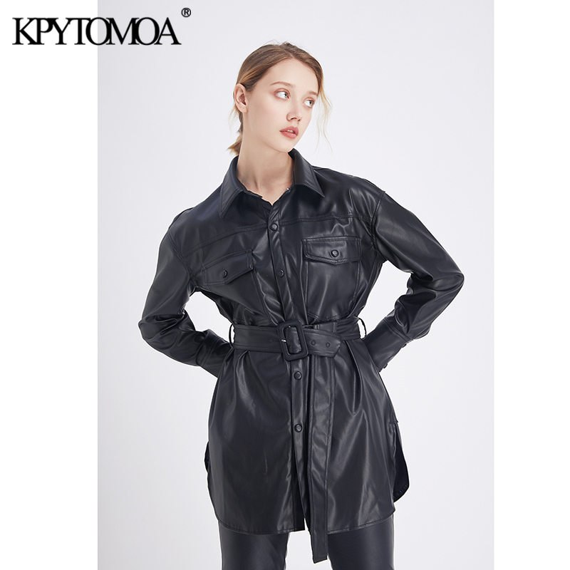 Vintage Stylish Faux Leather With Belted Jacket Coat Women 2020 Fashion Long Sleeve Pockets Side Vents PU Outerwear Chic Tops