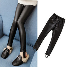 Teens Girls Stretchy Leggings Trousers Kids PU Black Solid Faux Leather Skinny Pants Children Clothing New Fashion Pencil Pants