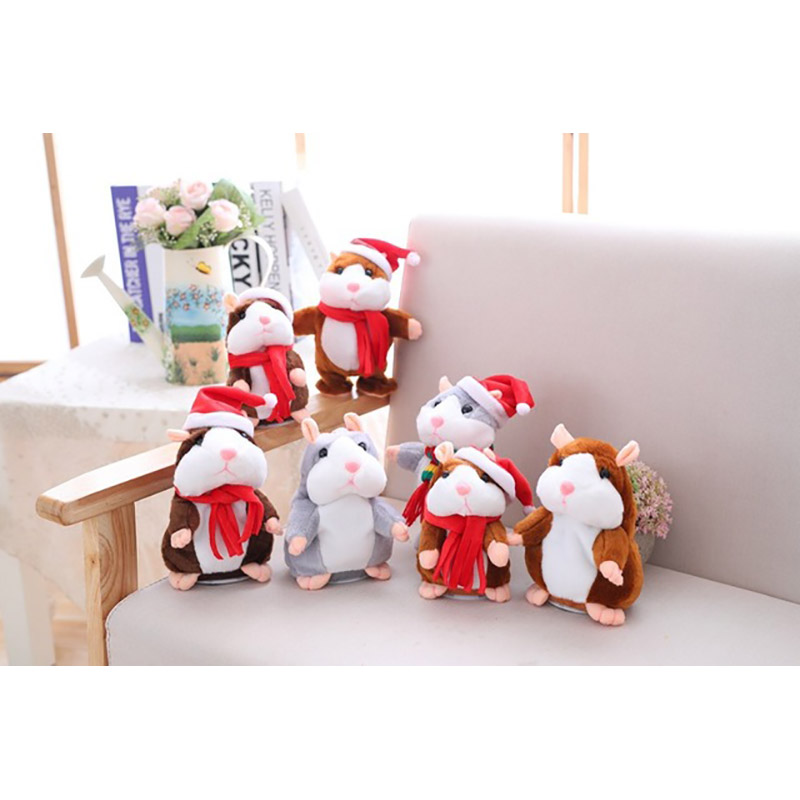 Baby Kids Christmas Gifts Repeat Talking Hamster Mouse Pet Plush Toys Hot Cute Speak Sound Record Hamster Educational Children