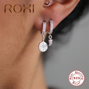 ROXI INS Irregular Zircon Crystal Star Pendientes Hoop Earrings Round Circle Aros Earrings for Women 925 Sterling Silver Earings