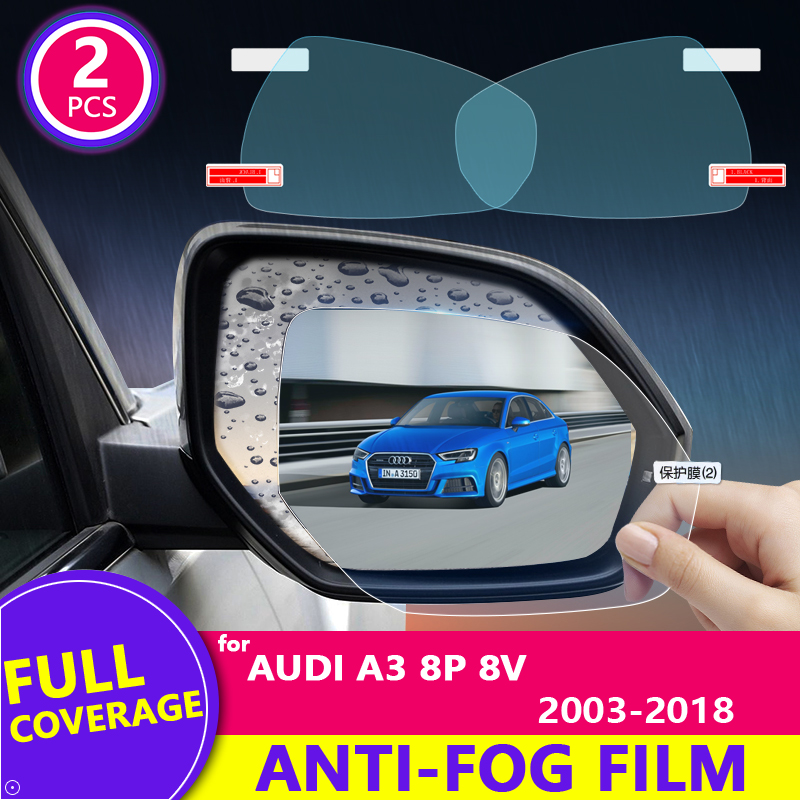 Full Cover Anti Fog Rainproof Film for Audi A3 8P 8V 2003~2018 Car Rearview Mirror Protective Accessories 2005 2008 2014 2017 image