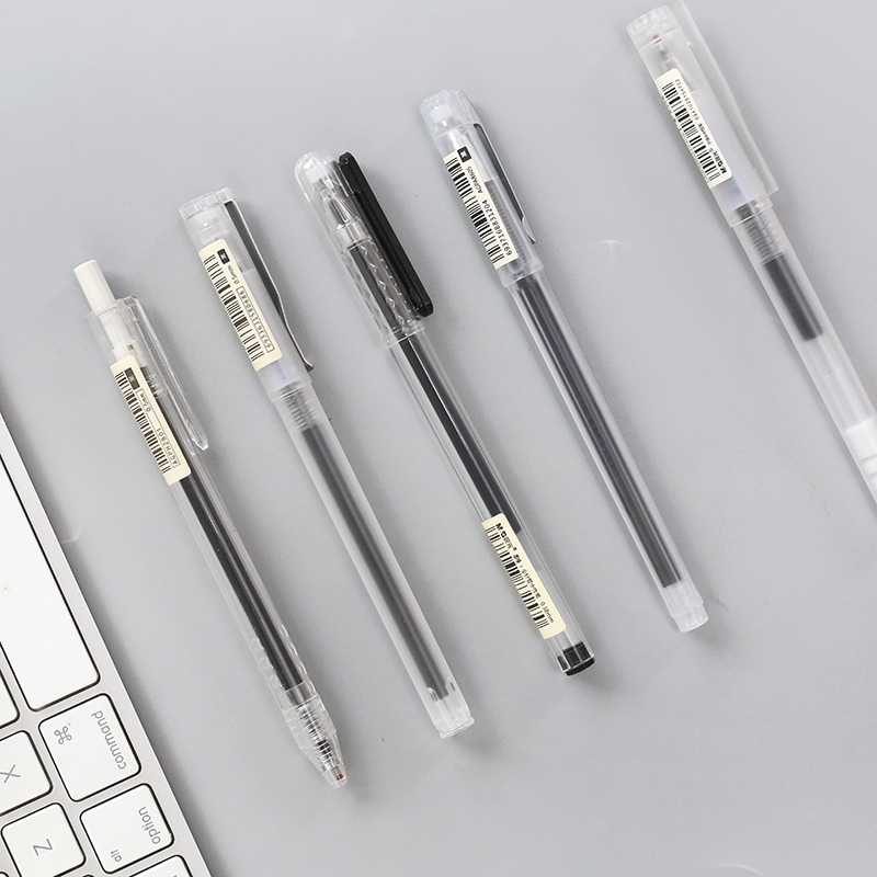 Mohamm 0.5mm/0.38mm Transparent Black Ink Gel Pen Office School Writing Student Supplies Stationery