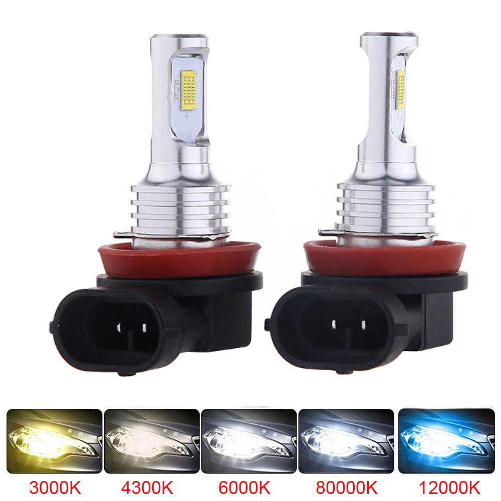 2PCS LED CSP Mini Car Headlight H11 H7 <font><b>Bulb</b></font> H1 H8 H9 9005 HB3 9006 <font><b>HB4</b></font> <font><b>3000K</b></font> Fog Light 6000K Lamp 12000K Ice Blue Fog Light image