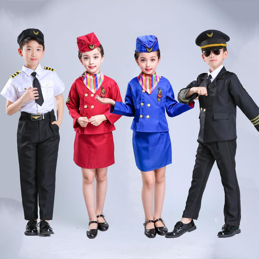 Halloween Party Wear Baby Girls Flight Attendant Stewardess Waitress Skirt Children Kids Boys Pilot Air Force Cosplay Costumes