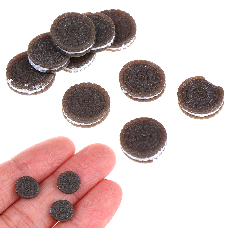 10pcs/lot 1:12 Kawaii Chocolate Cookies Miniature Dollhouse Kitchen Decoration Bakery Mini Food Pretend Play Toys