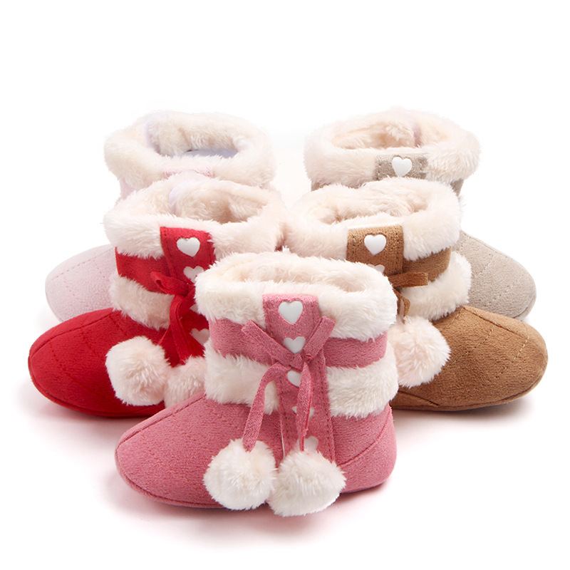 0-18 Months Baby Girl Booties fashion <font><b>Snowball</b></font> Winter Infant Toddler Shoes Warm with Non Skid Bottom image
