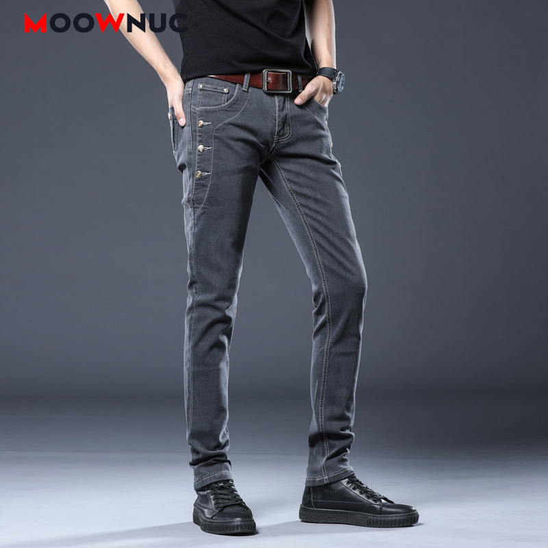 Jeans For Men Casual Fashion Pants Full-length Slim Elastic 2020 New Spring Summer Sweatpants Denim Male Streetwear MOOWNUC